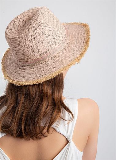 Rue Rue standart desen geÇişli renkli hasır desenli kadın şapka Renkli